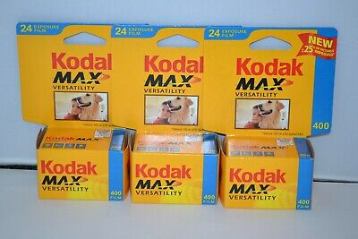 3 Kodak Max Versatility 400 Film 24 Exposures 35mm Color Rolls / SEALED 2004