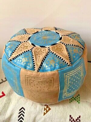Moroccan POUF Genuine Leather Pouffe Ottoman Footstool Handmade Choose Color