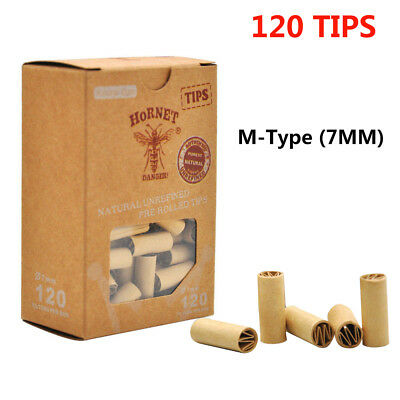120 x Natural UnRefined HORNET M-Type 7MM PRE ROLLED Brown Cigarette Filter Tips