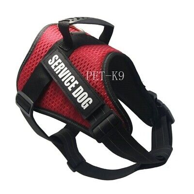 Adjustable Service Dog Harness Pets Reflective Vest Patches Small Large Medium