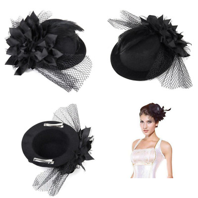 WINOMO Flower Decor Hair Clip Feather Fascinator Burlesque Punk Mini Top Hat...