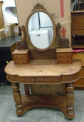 VICTORIAN Farmhouse Solid Pine Dressing Table With Mirror  - CS D22