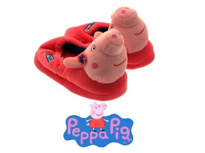 Girls Peppa Pig 3D Plush Novelty Slippers Kids Nursery House Shoes Booties Size