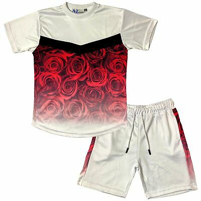 Kids Girls T Shirt Shorts Flower Fade Two Tone Red Tees Top Summer Shorts Set