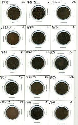 Coins. Canada. Large Cents. Lot of (30) different 1859-1920 Good and better