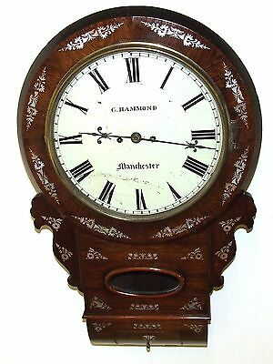 Antique ROSEWOOD & Mother of Pearl TWIN Fusee Drop Dial Clock HAMMON MANCHESTER