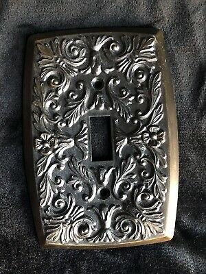 Holton Prod Original Vintage Bronze Single Switch Plate French Style Embossed