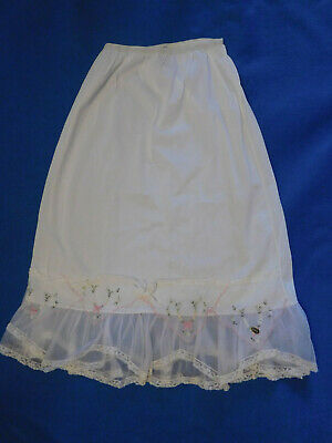 Vintage Ladies White Nylon Half Slip Crinolin D'signer by Formula  Embroidery