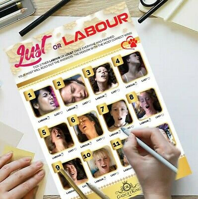 LUST OR LABOUR - Baby Shower Game 25 Players Party Quiz Card New Mum To Be
