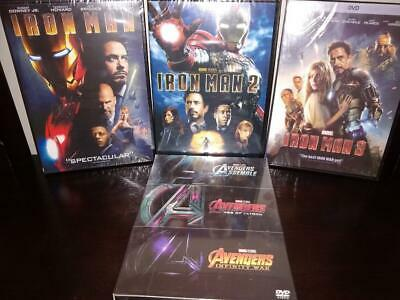 6 Marvel Movie DVD Collection - Avengers 1 2 3 & Iron Man Trilogy 1-3 BRAND NEW