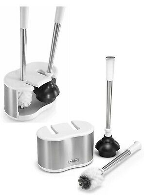 Stainless Steel Dual Toilet Brushes & Plunger Holder Includeds Extra Brush Head