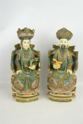 Vintage Ivory Resin Ornate Chinese King & Queen Statues Signed Heavy Colorful