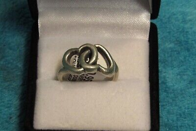 James Avery Sterling Silver Dual Hearts style Ring size ladies 5