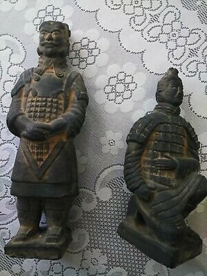 Vintage Chinese Terracotta Clay Warrior Soldier Figurine Statue Replica set of 2