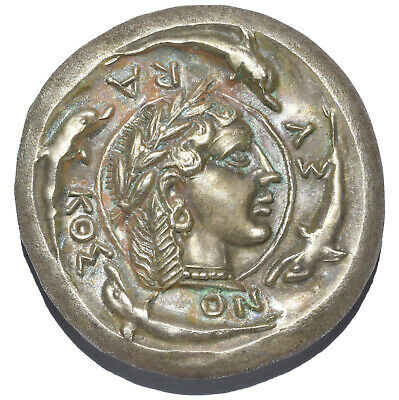 Ar Decadrachm Of Demareteion Syracuse (Sicily) Ancient Greek Silver Coin 41.86Gr