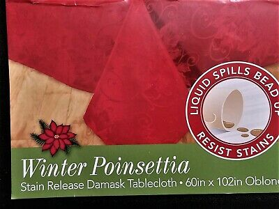 Christmas Damask Tablecloth 60x102 - RED Poinsettia Repels Stains Spills Bead Up
