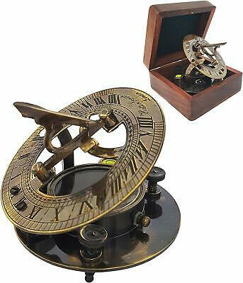 ntique Brass Sundial Compass Sun Dial in Box Nautical Marine Gift Replica