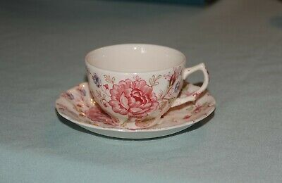 JOHNSON BROS Rose Chintz - Tea Cup and Saucer Made in England