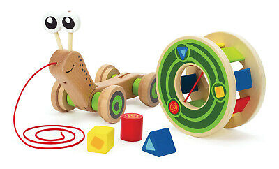 E0349 HAPE Walk-A-Long Snail Colour Wooden [Push & Pull] Baby Toddler Child 12M+