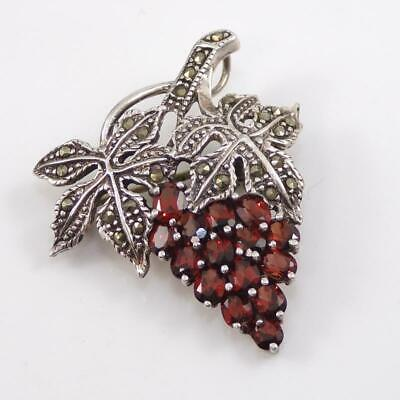 Sterling Silver Marcasite Red Garnet Bunch of Grapes Pendant/Pin LHB3