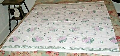 """VINTAGE TABLECLOTH MID CENTURY COTTON PRINT GRAY GREEN & PINK FLOWERS 46"""" x 48"""""""