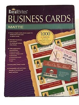 Royal Brites Matte Business Cards - White, 2 x 3.5 inches - Pack of 1000 New