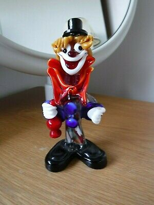 """Vintage Murano Glass Clown Early 1970's 7"""" High"""