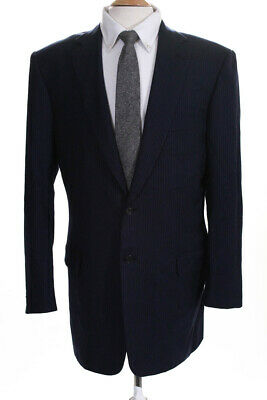 Brioni Mens Two Button Notched Lapel Blazer Blue Wool Pinstripes Size 42 Long