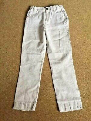 Marks & Spencer Boys Trousers Age 9-10 M&S Boys Smart Linen Trousers Cream