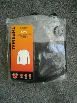 Brand New Boys George 2 Pack Thermal Long Sleeved T Shirts Grey + Black Age 8/9