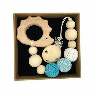 Eichhorn Baby Schnullerkette mit Clip und Beißring Set Holz Ring Made in Germany