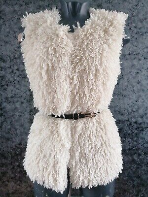 Girls Cream Shaggy Button Up Gilet Age 12 Years River Island