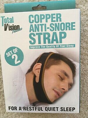 2 Copper ANTI-SNORE CHIN STRAPS FOR A RESTFUL QUIET SLEEP NEW IN BOX.