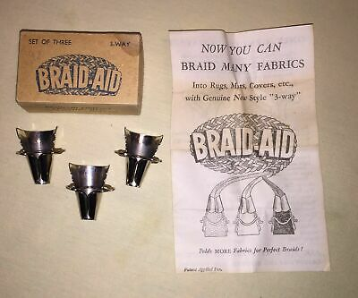Braid-Aid / Simplicity cones 3-way fabric folders, rug braiding, old-style, RB