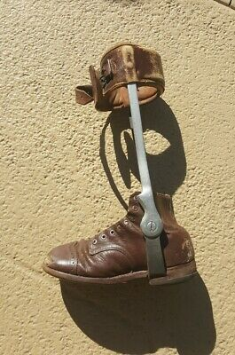 Vintage Child's Orthopedic Leg Brace With Shoe Calf Antique Polio Steam Punk