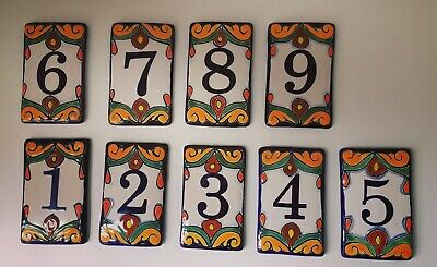 Talavera Mexican House Number Pottery Hand Made Folk Art