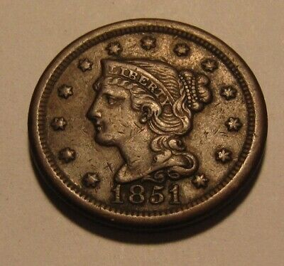1851 Braided Hair Large Cent Penny - Extra Fine to AU Condition - 86SA-2