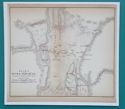 "1898 MAP 6 x 6.5"" (15 x 16.5 cm) - JORDAN Site of Ruins of Ancient Petra"