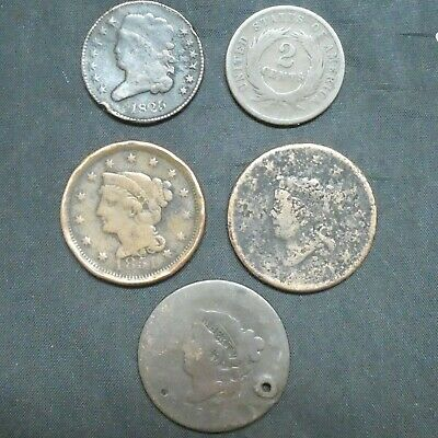 1816 1851 ND Large Cents 1825 Half Cent 1864 2 Cents Coin lot