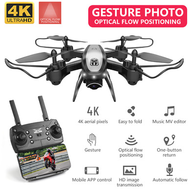 4K Camera RC FPV WiFi Folding Drone Optical Flow HD Photography Video Quadcopter