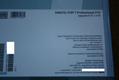 Simatic TIA Portal Step 7 Professional V16 Upgrade 6ES7822-1AA06-0YE5
