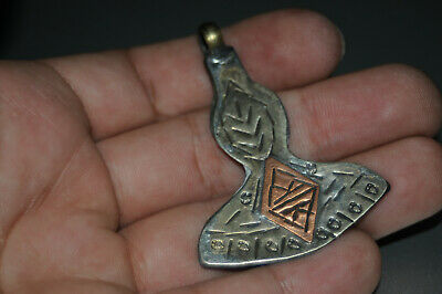 Ancient Viking Norse Silver color Axe Amulet Hghly detailed hammer Circa #3