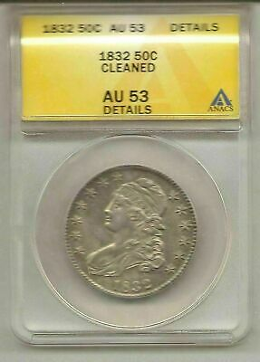 1832 ANACS Certified AU 53 Cleaned Capped Bust Half Dollar #ca0.50.9438