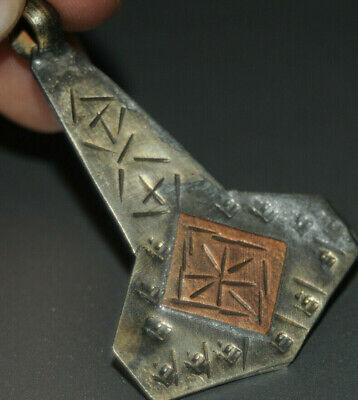 "Ancient Viking Solid Silver color pendant AMULET ""Hammer-AXE"" GREAT SAVE #20"