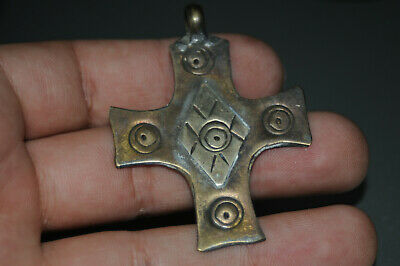 "Ancient Viking Solid Silver color pendant AMULET ""CROSS"" GREAT SAVE 8-10 AD"