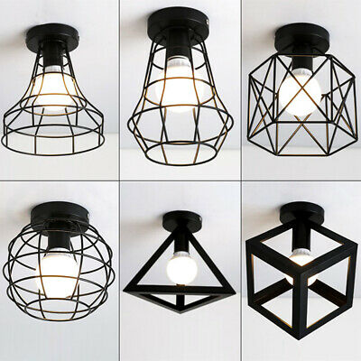 Retro Lampshade E27 Cage Mount Ceiling Light Hanging Indoor Iron Pendant Lamp