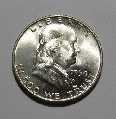 1950 D Franklin Half Dollar - NICE BU Condition / Strong Bell Lines - 112SA-2