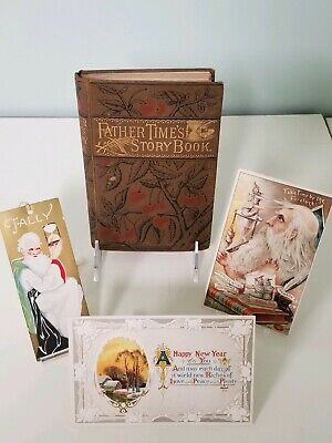 Group of New Year's Eve Father Time themed, Book, Tally & Postcard, Ad. Premium