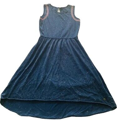 GIRLS size 16 Summer LONG slightly  hi - lo  Party Dress blue PIPING HOT Cotton