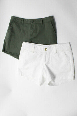 Sanctuary Lilly Pulitzer Womens Cotton Casual Shorts Green White Size 26 2 Lot 2